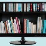 Televuisor con imagen de libros