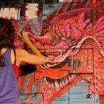 """""""Mural del libro, obra de arte efímera"""" de Georgina Ciotti"""