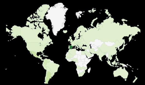 Mapa mundi de seguidores de Biblogtecarios