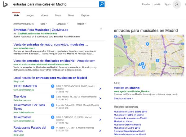 Bing - entradas musicales madrid