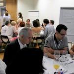 Mesa de trabajo del Taller Europeo conducida por la presidenta de FESABID Glòria Pérez-Salmerón, actual presidenta de IFLA.