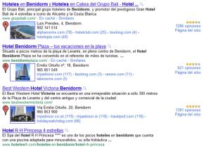 Búsqueda en Google: Hotel Benidorm