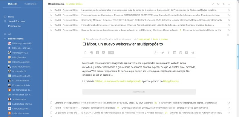 Ejemplo de escritorio de Feedly