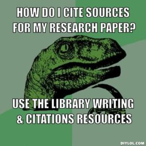 Philosoraptor: How do I cite sources for my research paper?