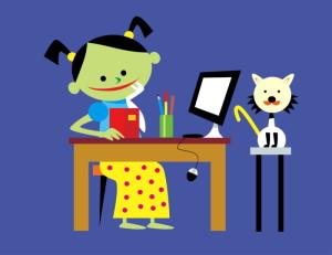 Niños lectores y animales