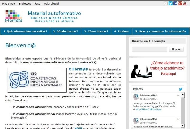 Aspecto actual del sitio web oficial de t-form@s (UAL)