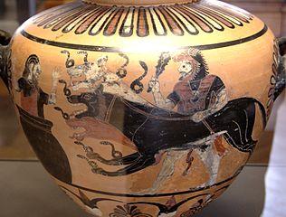 Vasija con Kerberos y Hércules