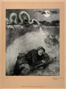 V0015801 World War One: a large snake, symbolic of a gas attack, stri