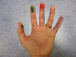Dedos pintados para contar El bosque encantado