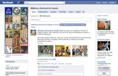 Facebook de la Biblioteca Nacional de España