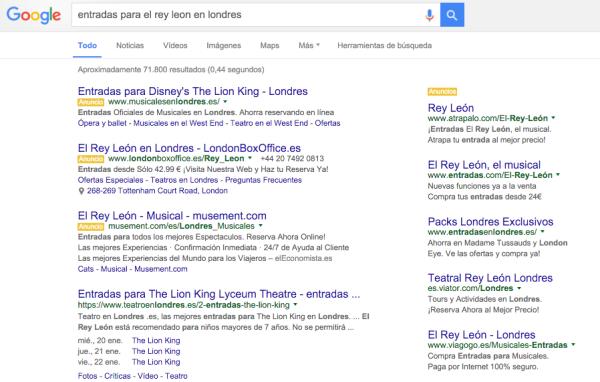 google - entradas rey leon londres