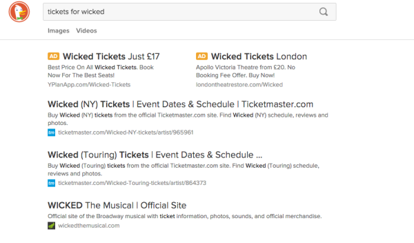 DuckDuckGo - tickets wicked