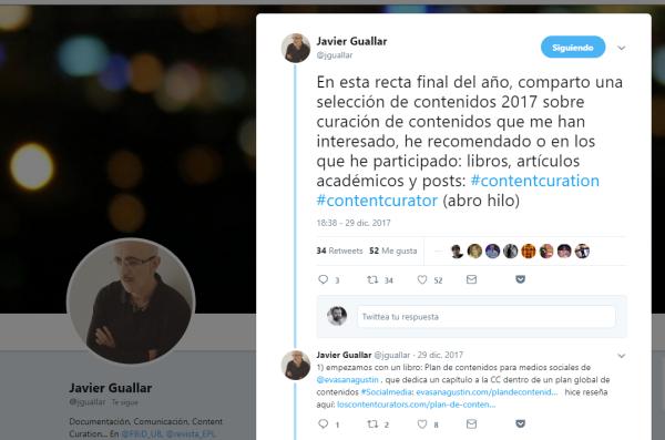 Hilo de twitter con recomendaciones de lectura