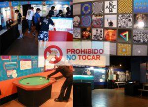 Cuatro imágenes de museo y el lema Prohibido no tocar
