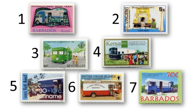 Bibliobuses en sellos del mundo