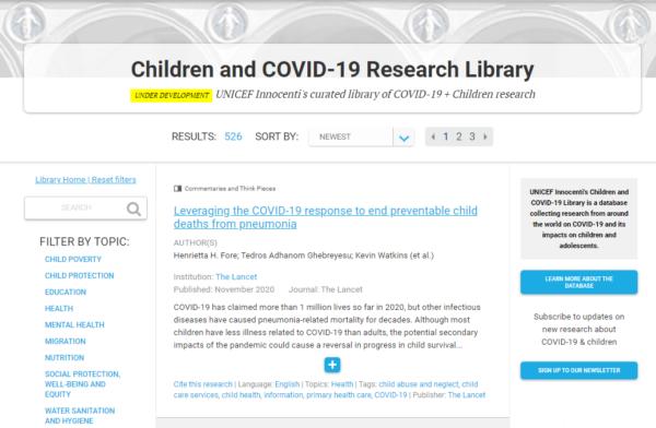 Biblioteca de investigación sobre infancia, adolescencia y COVID-19