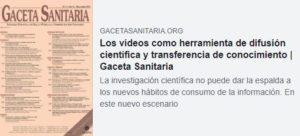 Los vídeos como herramienta de difusión científica y transferencia de conocimiento